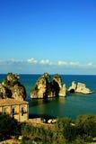 Seascape de Sicília, almodrava Scopello Fotografia de Stock