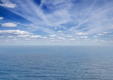 Seascape with deap blue ocean waters Stock Photos