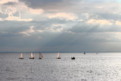 Seascape with dinghies Stock Photos