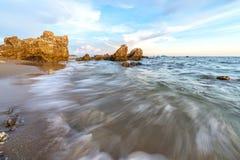 Seascape do tempo do dia fotografia de stock