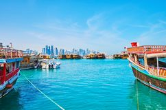 Old boats in Doha harbor, Qatar stock image