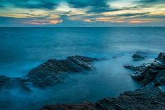 Seascape with dramatic wave and rock in sunset. At Khao Laem Ya National Park in Rayong province, Thailand Royalty Free Stock Image