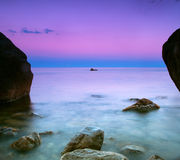 Seascape at dusk royalty free stock photography
