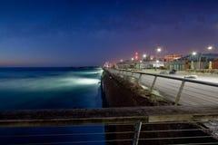Seascape of Dusk at Tel Aviv old port boardwalk Stock Photos