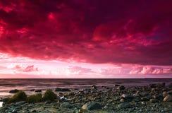 Seascape efter storm Arkivbild