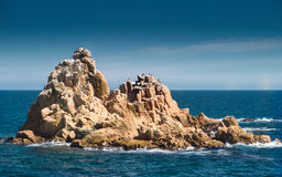 Seascape em Blanes, brava da costela, Girona, Espanha Fotos de Stock
