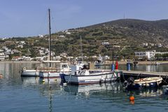 Quay of the city of Batsi Andros Island, Cyclades, Greece stock image