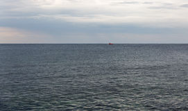 Seascape with entertainment semisubmarine sailing in Adriatic Sea. Royalty Free Stock Photography