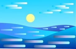 Seascape Estilo simples e moderno Ondas Fotografia de Stock