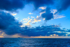 Seascape evening stormy sea horizon and sky. Stock Image