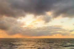 Seascape evening stormy sea horizon and sky. Royalty Free Stock Photo