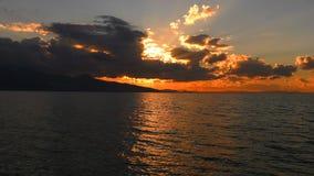 Seascape för lugna hav och solnedgång lager videofilmer