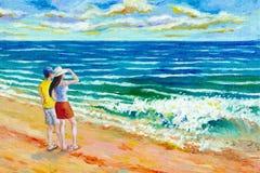 Seascape för målningar för oljafärg av skönhetstranden vektor illustrationer
