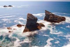 Seascape of the famous place - Aiguilles de Port-Coton. Stock Photo