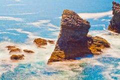 Seascape of the famous place - Aiguilles de Port-Coton. Royalty Free Stock Photography