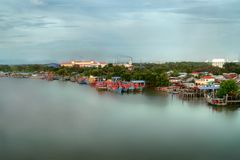 Seascape and Fisherman Village view from Kuala Kedah Bridge Royalty Free Stock Photography