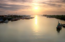Seascape and Fisherman Village view from Kuala Kedah Bridge Stock Photos