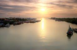 Seascape and Fisherman Village view from Kuala Kedah Bridge Stock Photos