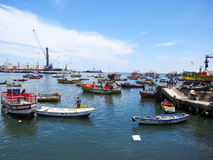 Seascape. Fishing cavelocated in Arica Chile, passing boats and fishing boats, and tourist Royalty Free Stock Images