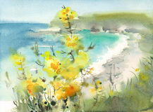 Seascape with Flowers Watercolor Nature Illustration Hand Painted Royalty Free Stock Image