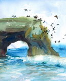 Seascape with Flying Pelicans Birds Watercolor Nature Illustration Hand Painted. Watercolor California Seascape with Flying Pelicans Birds Royalty Free Stock Image