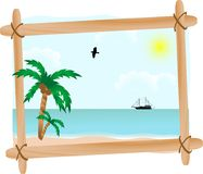 Seascape in frame. Summer seascape in wooden frame Royalty Free Stock Photos