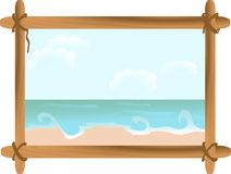 Seascape in frame. Summer seascape in wooden frame Royalty Free Stock Photography