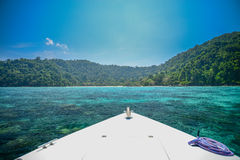 Seascape with front of speed boat at Surin national park khao la Stock Image