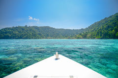 Seascape with front of speed boat at Surin national park khao la Stock Photography