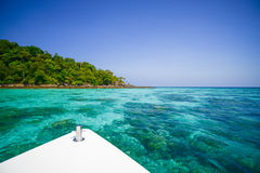 Seascape with front of speed boat at Surin national park khao la. K,Phang-nga, Thailand Stock Photos