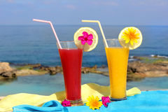 Seascape and fruit cocktails Stock Image