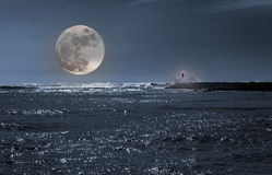 Seascape with full moon Royalty Free Stock Photography