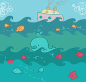 Seascape funny illustration. Above and below the sea, funny illustration. Vector Royalty Free Stock Photo