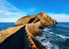 Seascape of Gaztelugatxe in Basque Country. On sunny day royalty free stock images