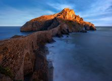 Seascape with Gaztelugatxe church in Basque Country. At the sunrise royalty free stock image