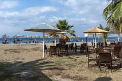 Seascape of Gerakini Beach at Sithonia peninsula, Chalkidiki, Central Mac. CHALKIDIKI, CENTRAL MACEDONIA, GREECE - AUGUST 25, 2014: Seascape of Gerakini Beach at Royalty Free Stock Images