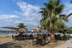 Seascape of Gerakini Beach at Sithonia peninsula, Chalkidiki, Central Mac. CHALKIDIKI, CENTRAL MACEDONIA, GREECE - AUGUST 25, 2014: Seascape of Gerakini Beach at Stock Image