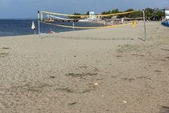 Seascape of Gerakini Beach at Sithonia peninsula, Chalkidiki, Central Mac. CHALKIDIKI, CENTRAL MACEDONIA, GREECE - AUGUST 25, 2014: Seascape of Gerakini Beach at Stock Images