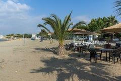 Seascape of Gerakini Beach at Sithonia peninsula, Chalkidiki, Central Mac. CHALKIDIKI, CENTRAL MACEDONIA, GREECE - AUGUST 25, 2014: Seascape of Gerakini Beach at Royalty Free Stock Image