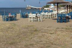 Seascape of Gerakini Beach at Sithonia peninsula, Chalkidiki, Central Mac. CHALKIDIKI, CENTRAL MACEDONIA, GREECE - AUGUST 25, 2014: Seascape of Gerakini Beach at Royalty Free Stock Photo