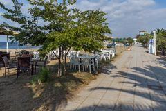 Seascape of Gerakini Beach at Sithonia peninsula, Chalkidiki, Central Mac. CHALKIDIKI, CENTRAL MACEDONIA, GREECE - AUGUST 25, 2014: Seascape of Gerakini Beach at Stock Photography