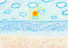 Seascape in a good day pastel painted Stock Photography
