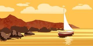 Seascape havet, havet, vaggar, stenar, sailfishen, vektorn, illustrationen som isoleras royaltyfri illustrationer
