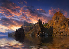 Seascape with high cliffs Stock Photography