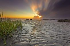 Seascape of Hilton Head Island. Seascape, sunrise, sunset in Mitchellville Park Beach in Hilton Head Island, South Carolina Stock Photo