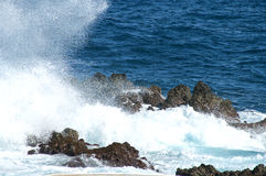 Seascape with hitting rough seas on the rocks. In Madeira Island Royalty Free Stock Image