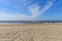 Seascape horizon line Sandy Beach Netherlands Stock Image