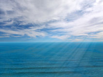 Seascape horizon with sunbeam Royalty Free Stock Photos