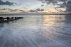 Seascape i den Swanage fjärden, Purbeck, Dorset Fotografering för Bildbyråer