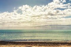 Seascape i Guardamar del segura Alicante Spanien Arkivbilder